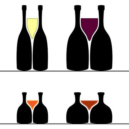 basement: Set of alcohol bottles and glasses