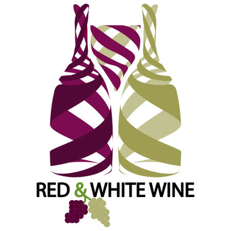 glass with red wine: Red and white wine Illustration