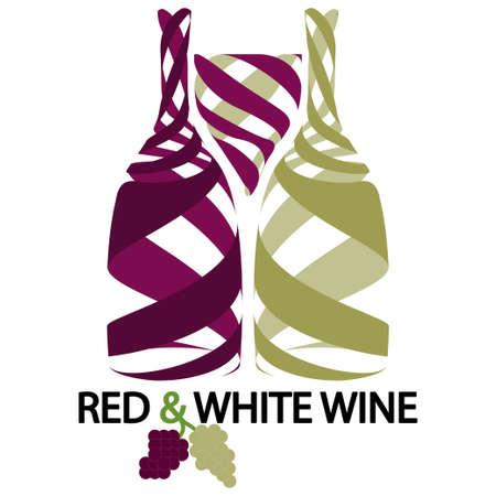 Vinho vermelho e branco Ilustração