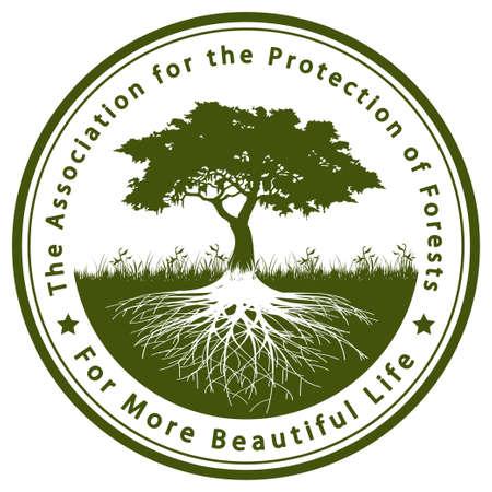 plant with roots: La Asociaci�n para la Protecci�n de los Bosques Vectores