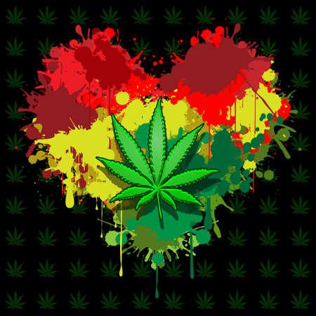 Amor marihuana Ilustración de vector