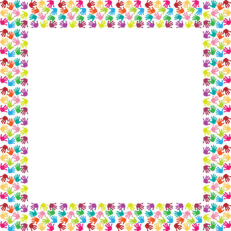 Frame of colorful hands Vector