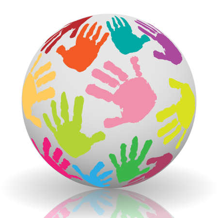nursery school: Hand print on the ball