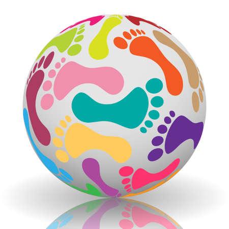 Footprint on the ball Vector