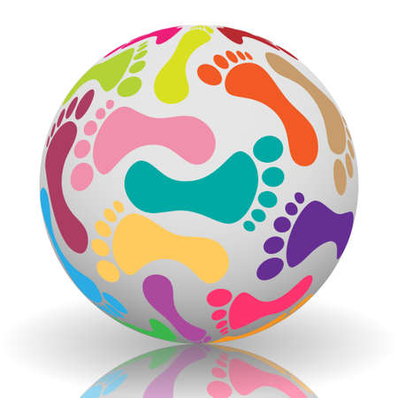 male feet: Footprint on the ball Illustration