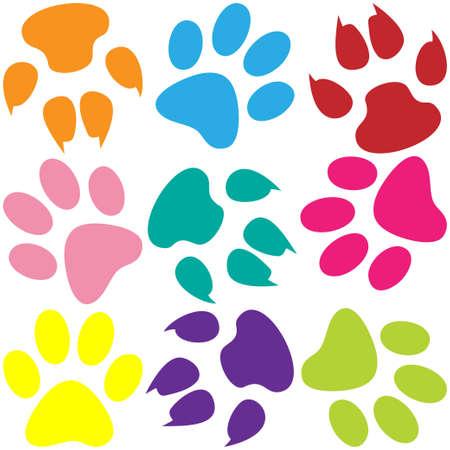 patas de perros: Impresiones de la pata de fondo Vectores