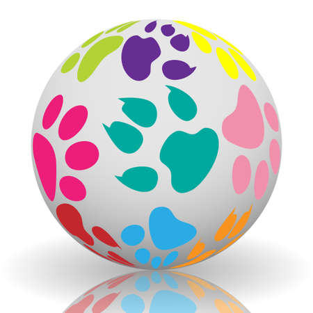 spoor: Paw prints on the ball Illustration