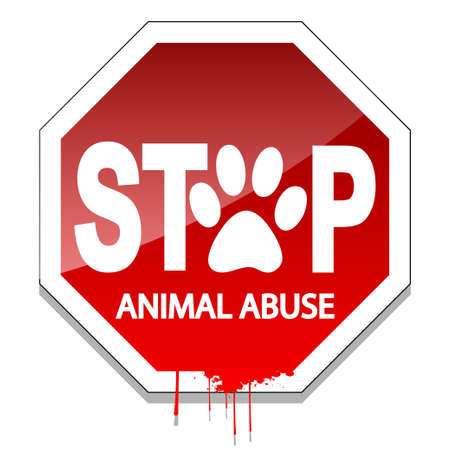 animal blood: Stop Animal Abuse Illustration