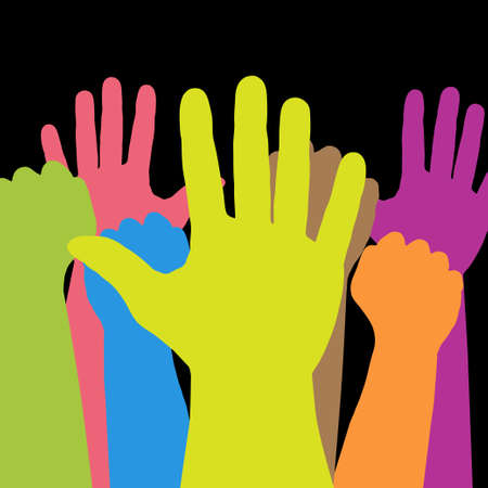 raised hand: Colorful hands