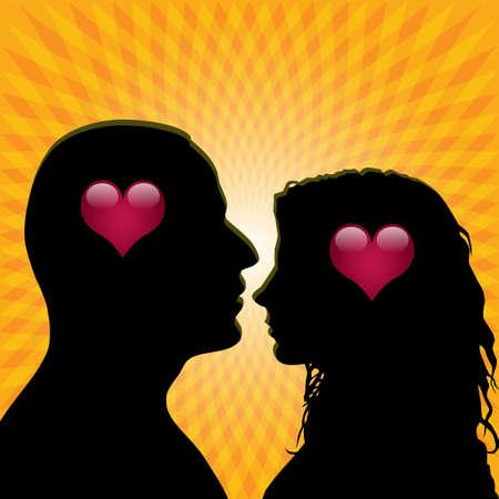 woman shadow: Love couple