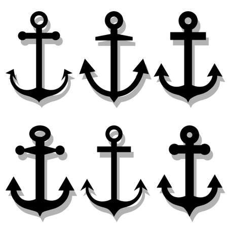 anchored: Anchor silhouettes set
