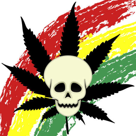 thc: Eager marijuana symbol with skull