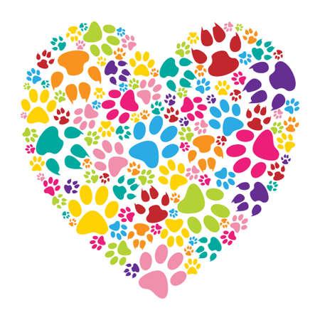 corazon: Impresión de la pata del corazón Vectores