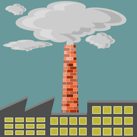 Factory polluter Illustration