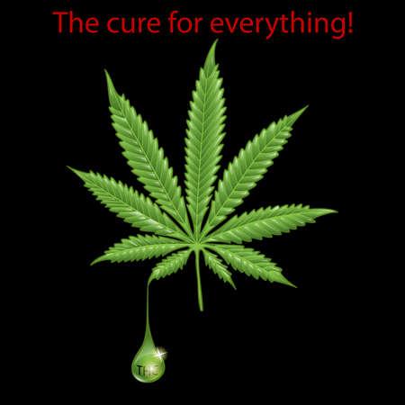 marihuana leaf: Marijuana leaf - THC