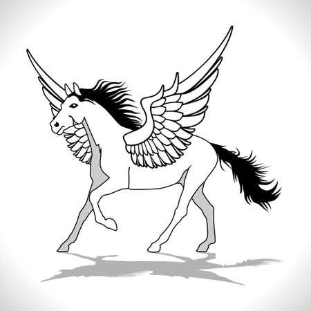 legends: Pegasus Winged Stallion Illustration