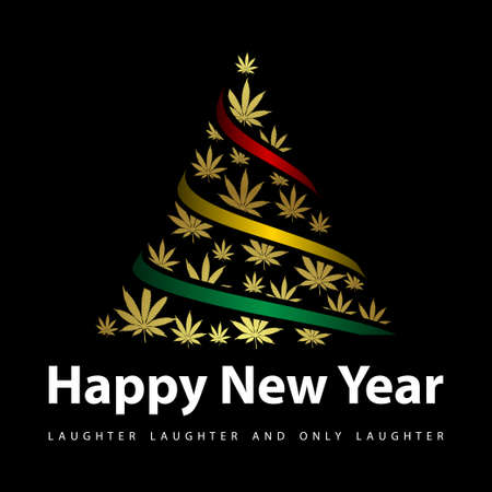 New year greeting card with black background and christmas tree