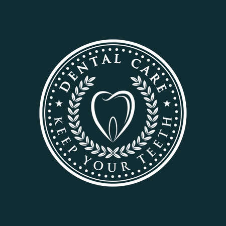 Dental Care-icon over dark green background