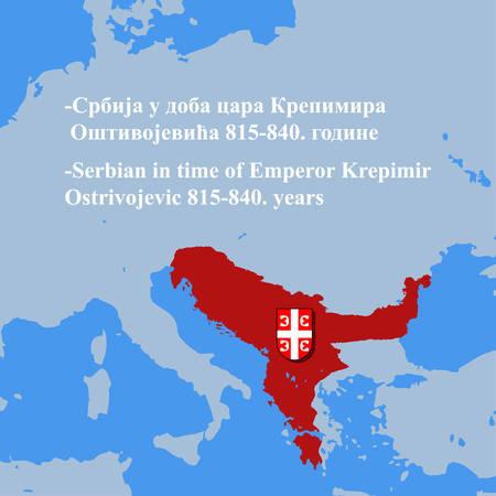 セルビア815-840年の地図。  イラスト・ベクター素材