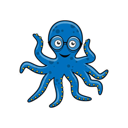 Blue octopus with glasses Vector illustration. Stock Illustratie