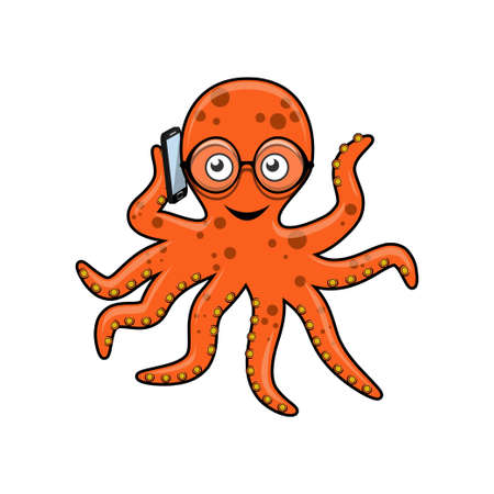 Octopus with mobile phone Vector illustration. Vectores