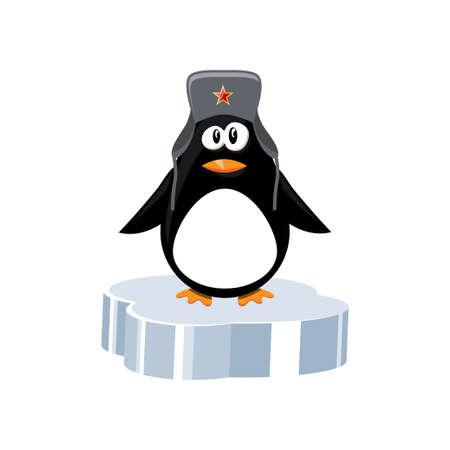 Penguin on ice floe illustration