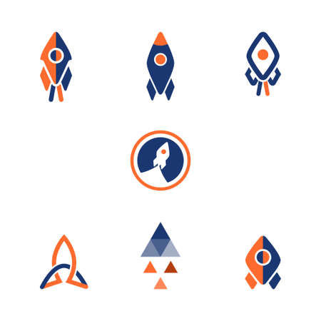 A Logo rocket design isolated on plain background.