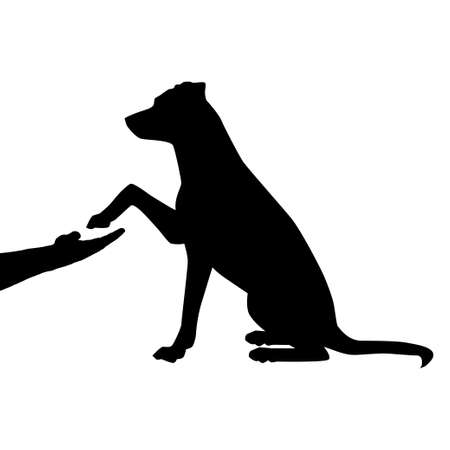 Silhouette dog as a friend, handshake illustration.