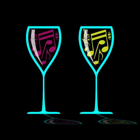 Glass of music Ilustração