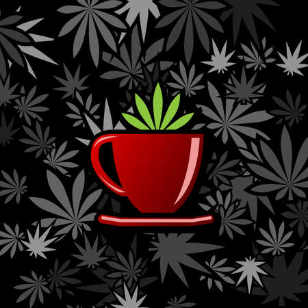 Cannabis and marijuana cups. Illustration of cannabis cups as a symbol of legalization Stockfoto - 120261997
