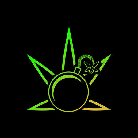 Medical cannabis as a bomb.Illustration of medical cannabis as a bomb on a black background