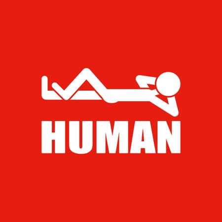 Human logo design. Illustration of a human logo design on a red background