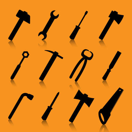 Silhouette tool set. Illustration of a silhouette set of tools on an orange background Illustration