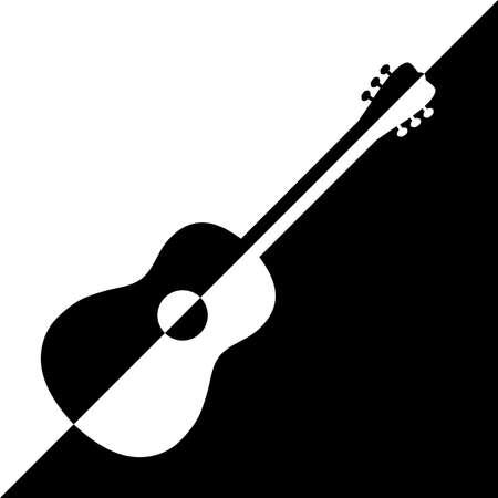 Acoustic guitar design. Illustration   design of acoustic guitars in black and white variants Illustration