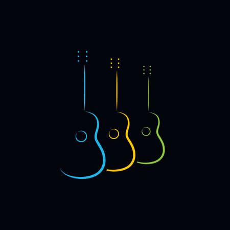 Acoustic guitar design. Illustration   design of acoustic guitar on black background