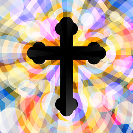Christian Orthodox Cross. Illustration Christian Orthodox cross on abstract background Stock Photo