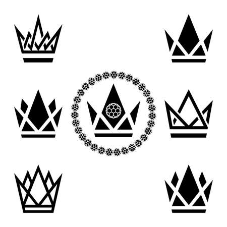 Set of crowns. Illustration of a set of crowns as a symbol on a white background Stock Illustratie