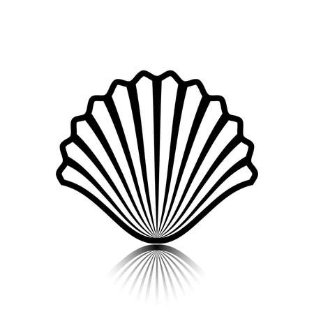 Sea shell as an icon. Illustration of a seashell as an icon on a white background