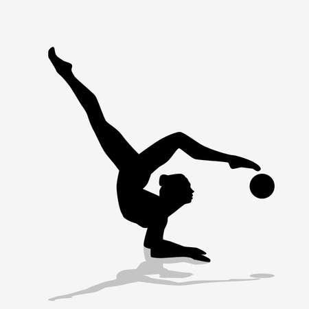 Rhythmic gymnastics silhouette. Illustration of a silhouette as a symbol of rhythmic gymnastics on a white background