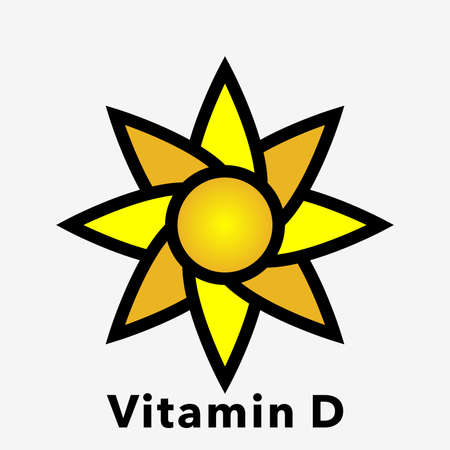Icon of the sun. Illustration of sun icons as a symbol of vitamin D.
