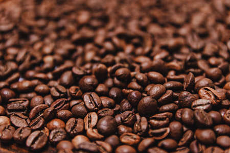 Close-up Coffee beans for background in blur