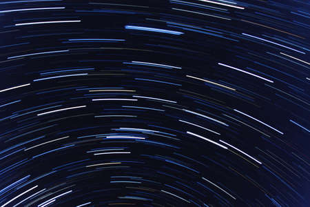 The real photo of star trails in the night sky Stock Photo
