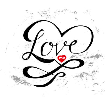 love me hand lettering, scalable and editable vector illustration