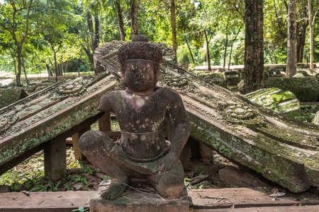 Asura Guardian at Banteay Srei ruin, Cambodia Stock Photo