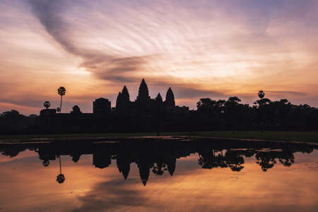 Silhouette of Angkor Wat at sunrise, the best time in the morning at Siem Reap, Cambodia