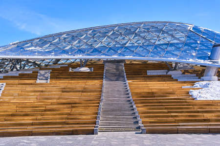 New philharmonic society and open amphitheater in Zaryadye park at winter, Moscow, Russia