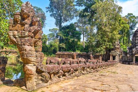 Road to Preh Khan temple, Siem Reap, Cambodia Фото со стока