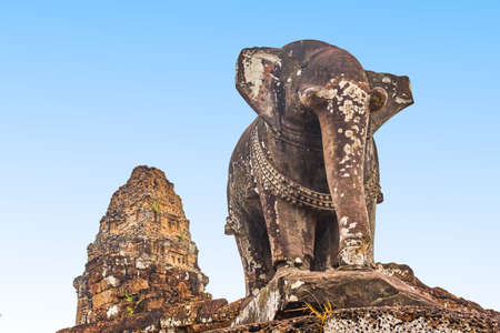 Elephant sculpture in East Mebon temple, Siem Reap, Cambodia Stock Photo