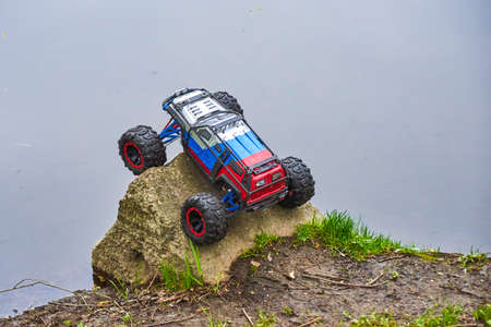 Radio-controlled car movement Stock Photo
