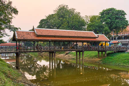 Beautiful bridge reflection on the river in Siem Reap city centre, Cambodia